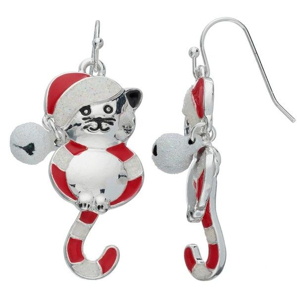 Candy Striped Cat Nickel Free Drop Earrings ($9.10) ❤ liked on Polyvore featuring jewelry, earrings, multicolor, fish hook earrings, silvertone jewelry, nickel free earrings, silver tone earrings and nickel free jewelry