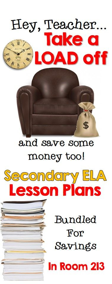 Lots of language arts lessons and lots of savings.  Check out the secondary ELA bundles in Room 213!
