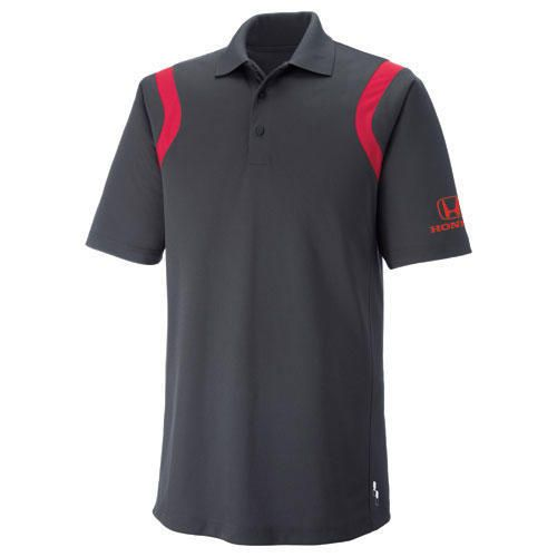 Men's Polo. 100% polyester with moisture wicking, antimicrobial and UV protection performance. Honda logo embroidered on left sleeve.