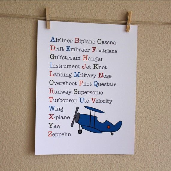 "Nursery Art Airplane ABCs - Definitely could make this!!!....but would have to change a couple things:  ""A"" - Aircraft Carrier; ""B"" - Bear Aces; ""C"" - Call Sign; ""E"" - E-2; ""F"" - Flight Suit; ""G"" - Goshawk;  ""H"" - Hawkeye; ""N"" - Naval Aviator; ""S"" - Squadron;  ""T"" - T-34; ""V"" - VAW-124"