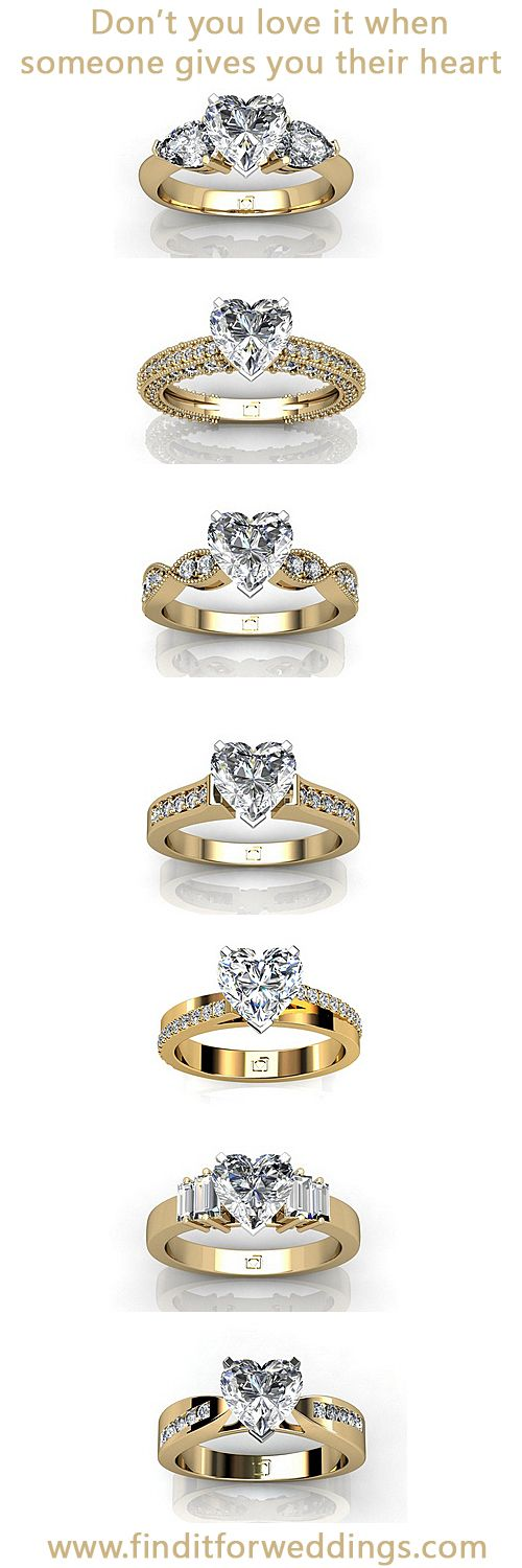 Heart shaped diamond engagement rings. www.finditforweddings.com