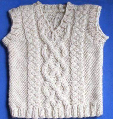 Little Aran Vest, knitting pattern.  Sizes for newborn through 24 months.