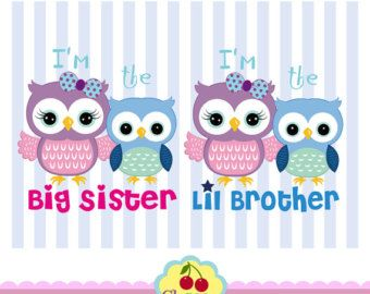 Pink Brown and Blue cute owls birthday digital от Cherryclipart