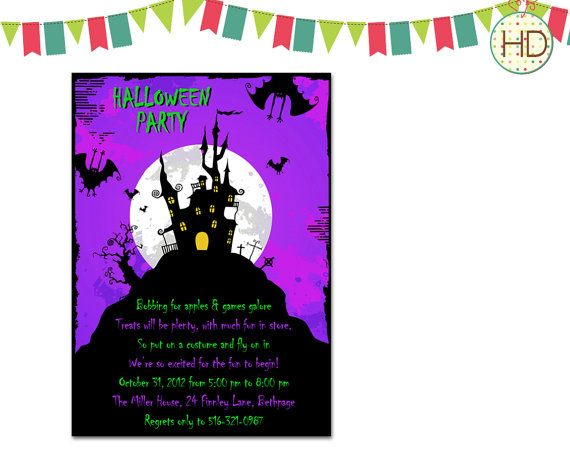 Best Halloween Birthday Party Invites Images On Pinterest - Halloween birthday invitations etsy