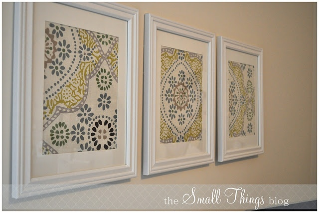 napkins from World Market and white frames. Cheap and easy idea.: Wall Art, Decor Ideas, Diy Frames, Cheap Frames, Frames Fabrics, White Frames, Frames Art, Cloth Napkins, Clothing Napkins