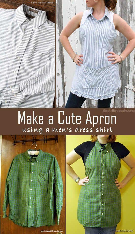 Turn A Men's Dress Shirt Into A Cute Apron: Easy DIY Instructions