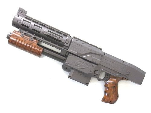 """NERF N-Strike Recon CS-6@Shotgun-custom """"DAIMON"""".  Click the links at the bottom of its page for how he did it"""