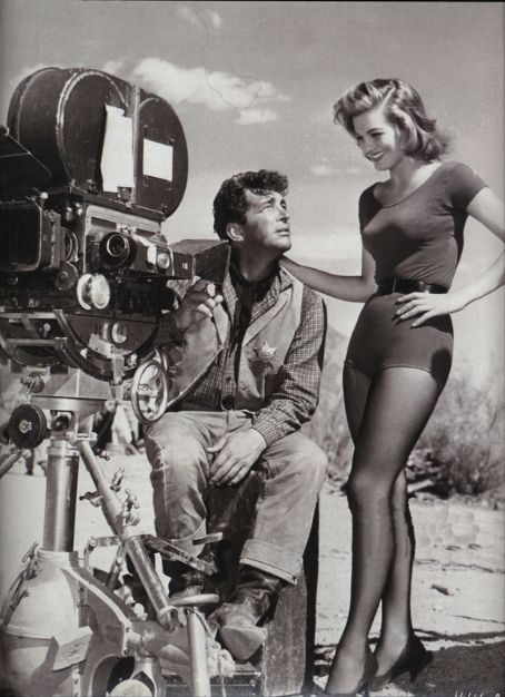 Dean Martin & Angie Dickinson on the set of Rio Bravo, 1959
