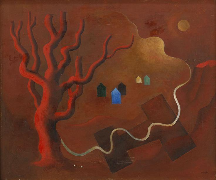 Esaias Thorén (Swedish, 1901-1981), Det röda trädet [The red tree]. Oil on canvas, 46 x 54 cm.