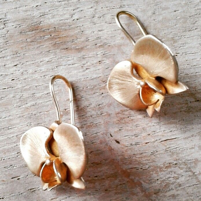 Gold-plated silver orchid earrings