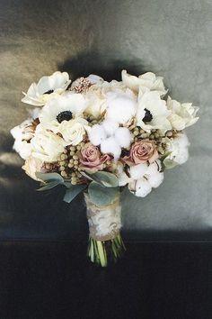 cotton and flower bridal bouquet we ❤ this! moncheribridals.com #weddingbouquets #rusticwedding