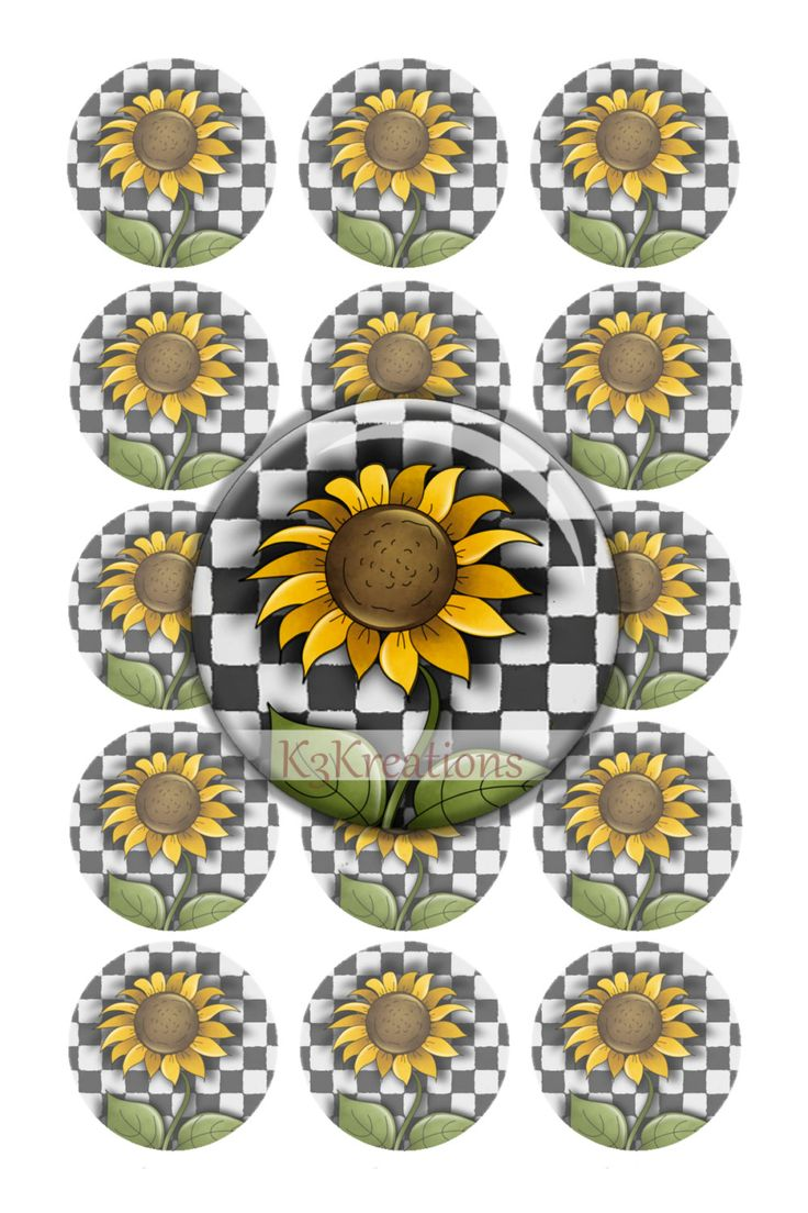 Bottle Cap Sunflower on Checkered Background 1 Inch - Digital Collage Sheet Printable Instant Download jewelry-craft - bottlecap by kybritor3kreations on Etsy