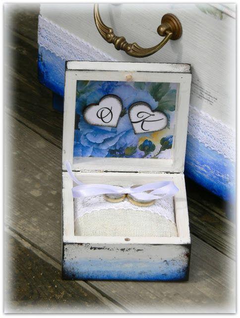wedding ring box, hand made, decoupage