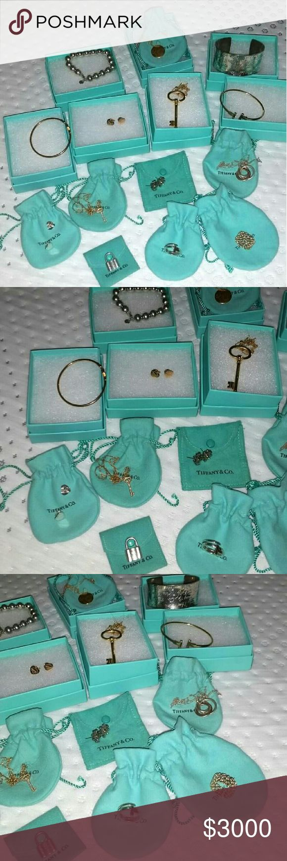 DON'T PURCHASE THIS LISTING - Tiffany & co jewelry Baby #2 is on the way, so I will be parting with some of my T jewelry.  All the silver & few selected gold items. Not all are pictured. Some pictured not for sale I will be listing shortly - -18k & silver daisy earrings  -Notes cuff -3 circle silver & rose gold pendant  -18k diamond encrusted key -lock charm  -bead bracelet  -T ring -18k heart tag earrings  I have more to go through.   I had to delete my previous account due to a psycho, but…