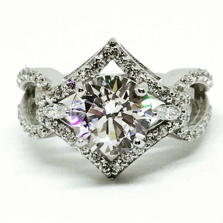 Ein runder russischer Labrador-Diamant-Verlobungsring im Vintage-Stil mit 2,04 ct   – rings