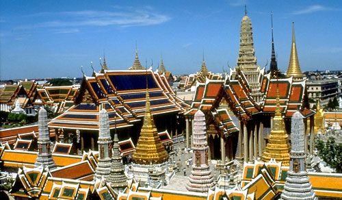 Thailand is best known for the architectural Temples. This one is the Grand Palace situated in Bangkok. Temples are not just for tourists, they play an important part in Buddhist traditions.
