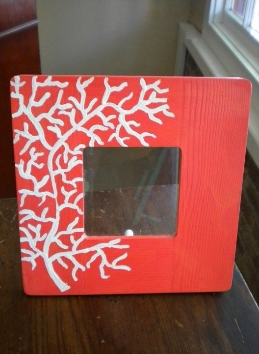 Hand Painted Coral Picture Frame