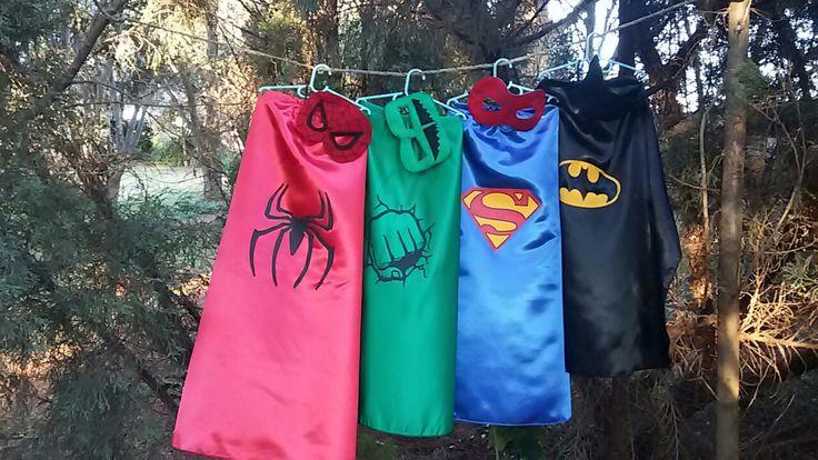 Super Hero capes with vinyl logos