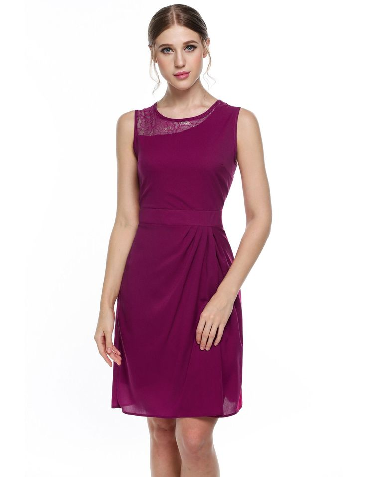 Purple Women Sleeveless Lace O-Neck Slim Fit Draped Going Out Wedding & Bridesmaid Dresses