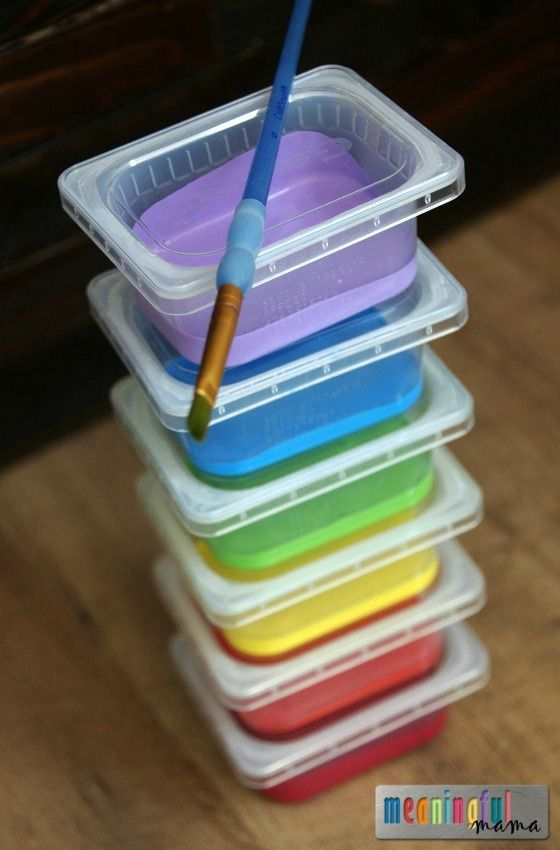 Parenting Craft Hack Use Baby Food Containers for Paint Storage