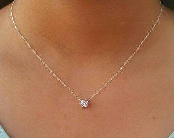 Solitär Diamant Halskette von tangerinejewelryshop auf Etsy