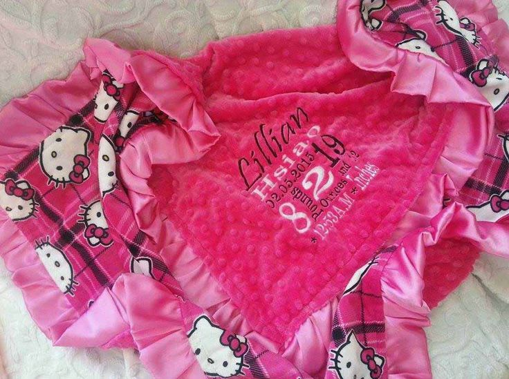 Personalized Blanket - Personalized baby blanket - Hello Kitty minky blanket with satin pink trim by KnuffelStuff on Etsy