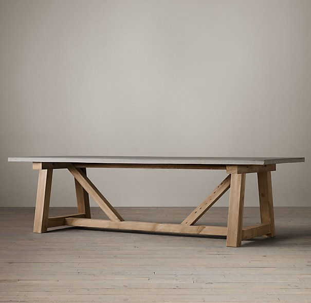 salvaged wood + concrete dining table. restoration hardware.