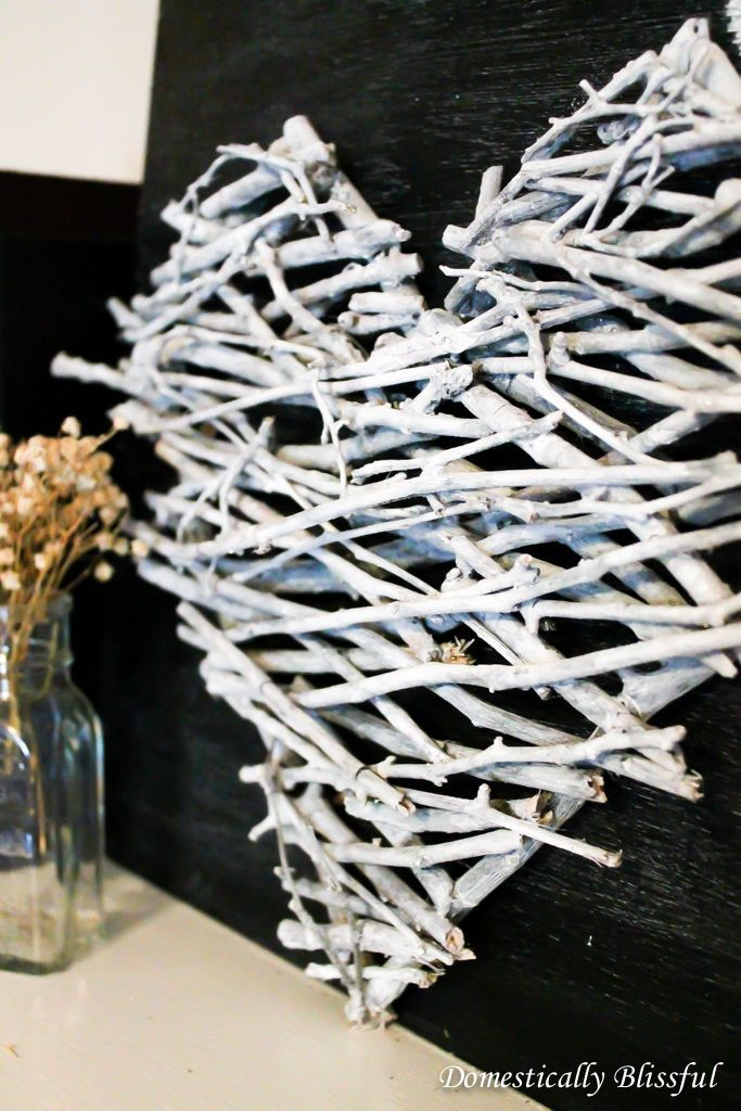 make a White Stick Heart ~ just hot glue, watered down white acrylic paint  and twine