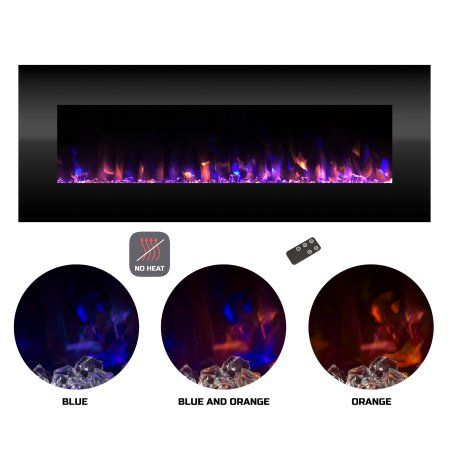 Electric Fireplace No Heat Decorative Wall Mounted Color Changing Led Fire And Ice Flames 54 Inch By Northwest Black Electric Fireplace Wall Mount Electric Fireplace Color Changing Led