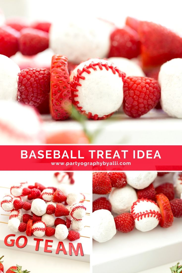 Baseball team snack or baseball party food for kids! #teamsnackidea #baseballparty #baseballpartyfood #donutkabobs