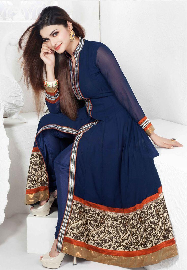 Blue Faux Georgette Anarkali Churidar Kameez Online Shopping: KEG44