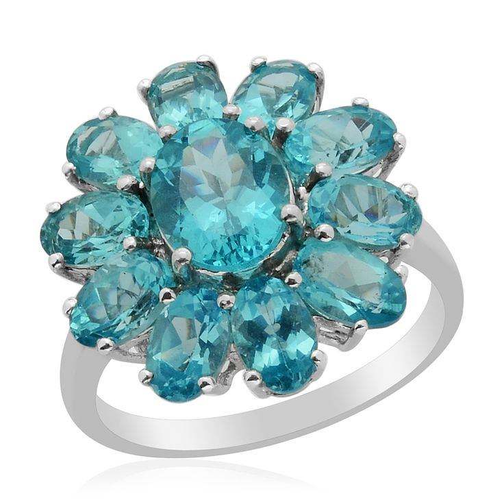 Liquidation Channel | Madagascar Paraiba Apatite Ring in Platinum Overlay Sterling Silver (Nickel Free)Nickel Free, Apatite Rings, Free Size, Apatite Jewelry, Overlay, Apatite Ovl, Affordable Madagascar, Madagascar Paraiba, Liquid Channel