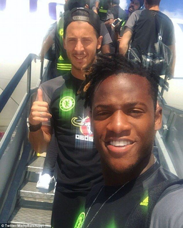 New Chelsea signingMichy Batshuayi (right) is all smiles as he poses with fellow Belgian Eden Hazard