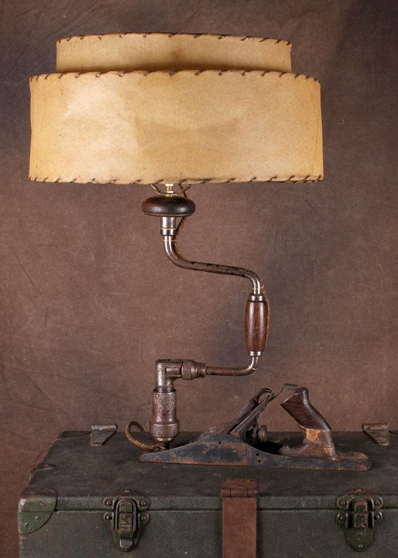 Vintage Wood Planer and Hand Drill Lamp by Lampchamp on Etsy, $95.00