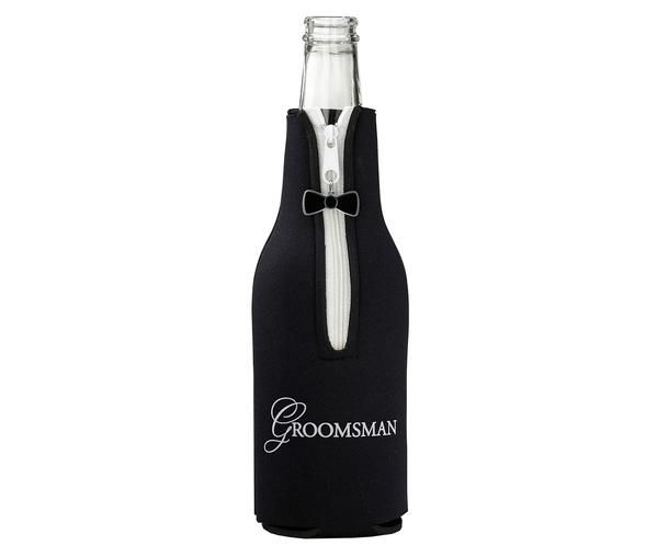 "This groomsman bottle cozy is the perfect wedding party favor. It works well for bachelor parties or the wedding reception. It measures 7.5"" tall."