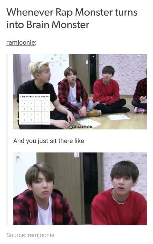 "Kookie looks like he doesn't know anything anymore. Tae is just like, ""WOA! How'd you do that???"" #BTS"