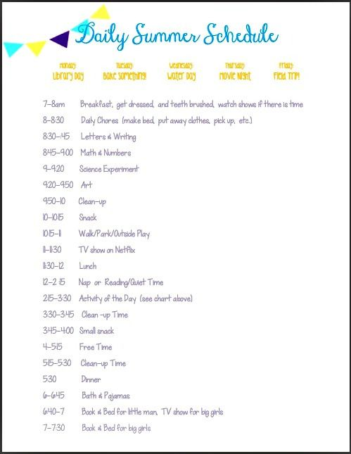 Daily Summer Schedule. Lots of ideas for learning activities, too.