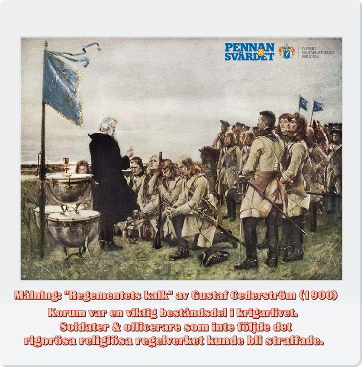 """Fältrop """"Hjälp Jesus!"""" Motton  """"Cum Deo Et Victoribus Armis"""" (Med Gud & Segerrika vapen; ursprungligen Gustav II Adolfs kungliga paroll) återfanns i Värmlands regementes vapensköld. Själasörjare, fältpräster, åtföljde förband under fälttåg. Korum var viktig i krigarliv. Tre första kapitel i Karl XI krigsartiklar ägnas åt gudsfruktan/militärt prästerskap/ hur gudstjänster skulle ombesörjas. Soldater/officerare som ej följde  rigoröst religiöst regelverk fick straff med böter eller slogs i…"""