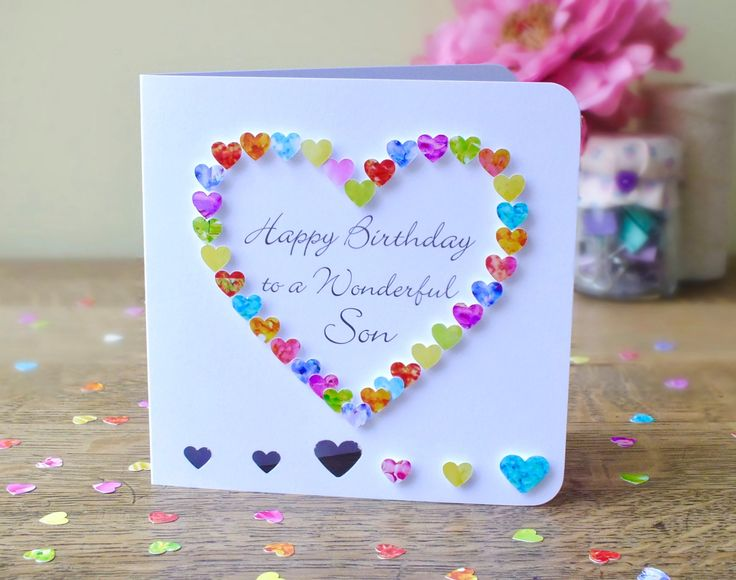 Son Birthday Card - Handmade Personalised Birthday Card for Son - Personalized Happy Birthday Wonderful Son - Cards by Gaynor - BHE12 by CardsbyGaynor on Etsy