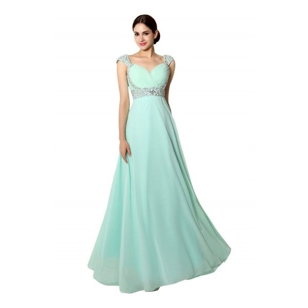 Women's Sleeveless Backless Evening Wedding Ball Gown Prom Dress ($70) ❤ liked on Polyvore featuring dresses, gowns, mint green, green gown, prom gowns, floor length evening dresses, prom dresses and evening dresses