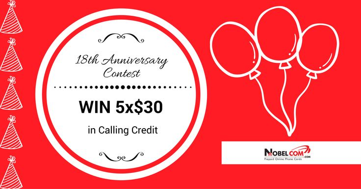 """""""WIN Calling Credit for your #InternationalCalls from NobelCom!  It is time for our 18th Anniversary Contest!   To enter this contest you must place an order of at least $20 on NobelCom site (http://goo.gl/4GVh1Q) between Aug 12th-21st and tell us in a comment below which is your favorite #NobelCom product.  Good luck to everyone! :)"""""""