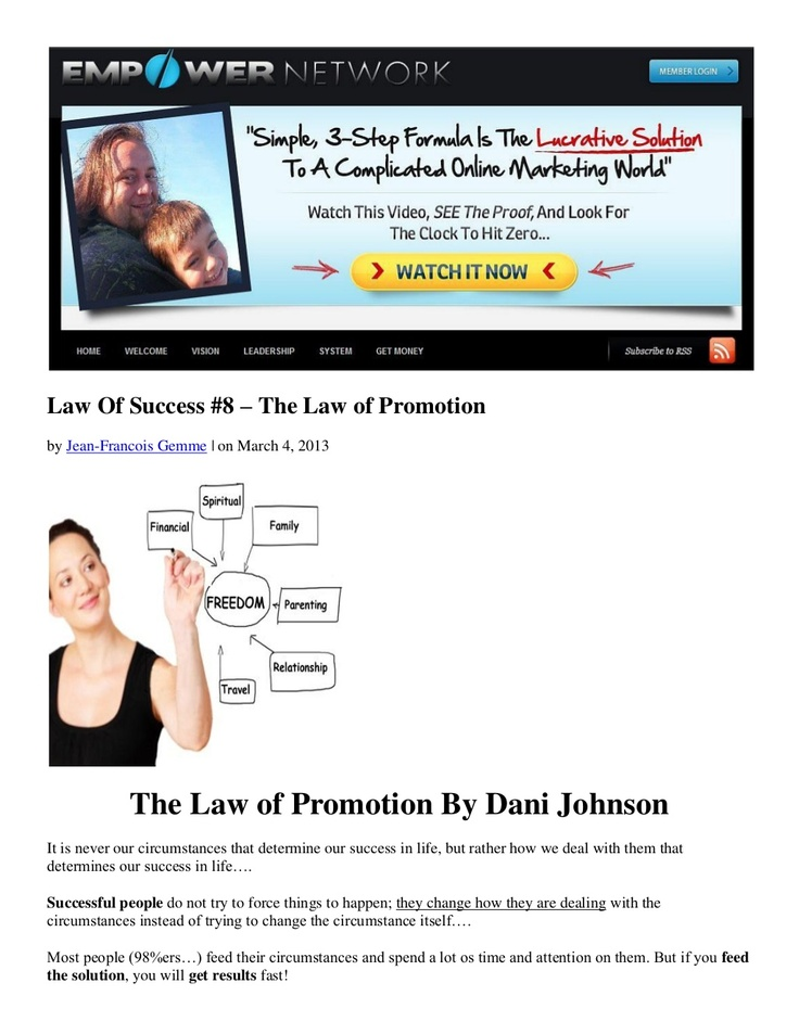 law-of-success-8-the-law-of-promotion-by-dani-johnson by Jean-Francois Gemme via Slideshare