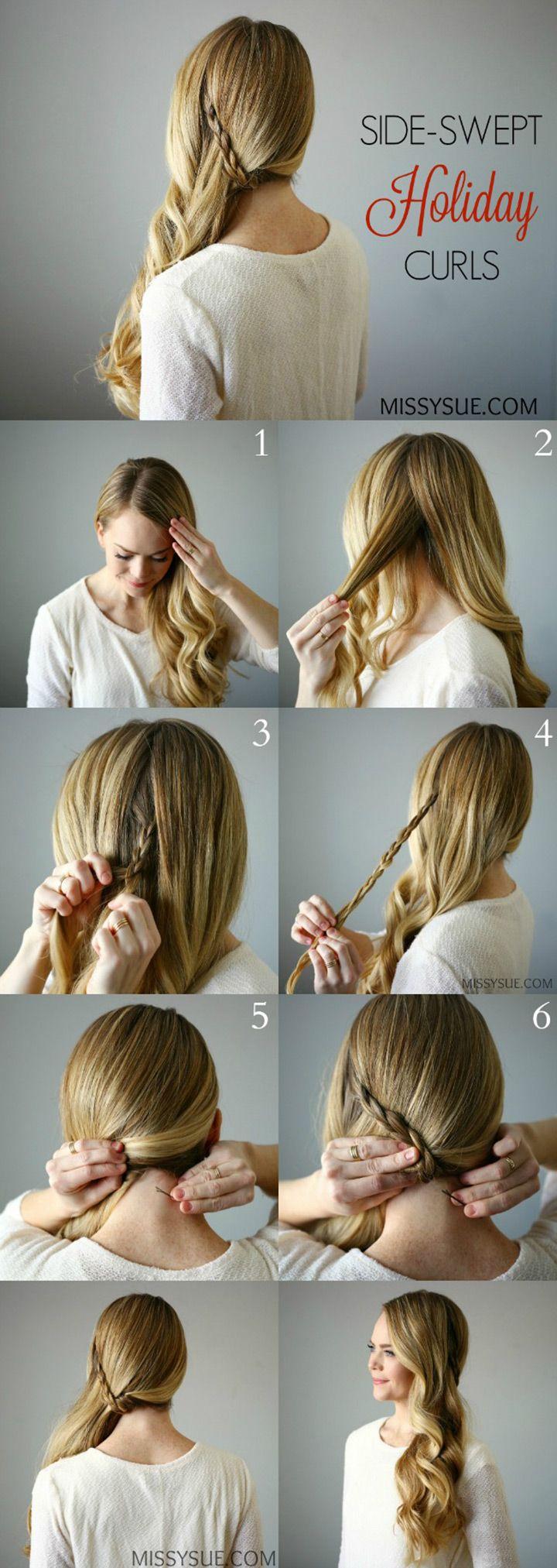 side swept curls with braid