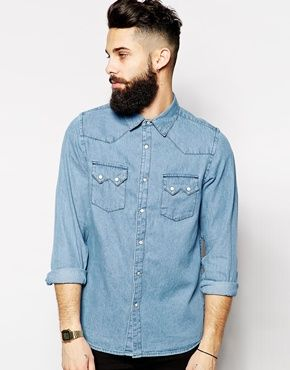 ASOS+Western+Shirt+In+Long+Sleeve+With+Mid+Wash+Denim - $49