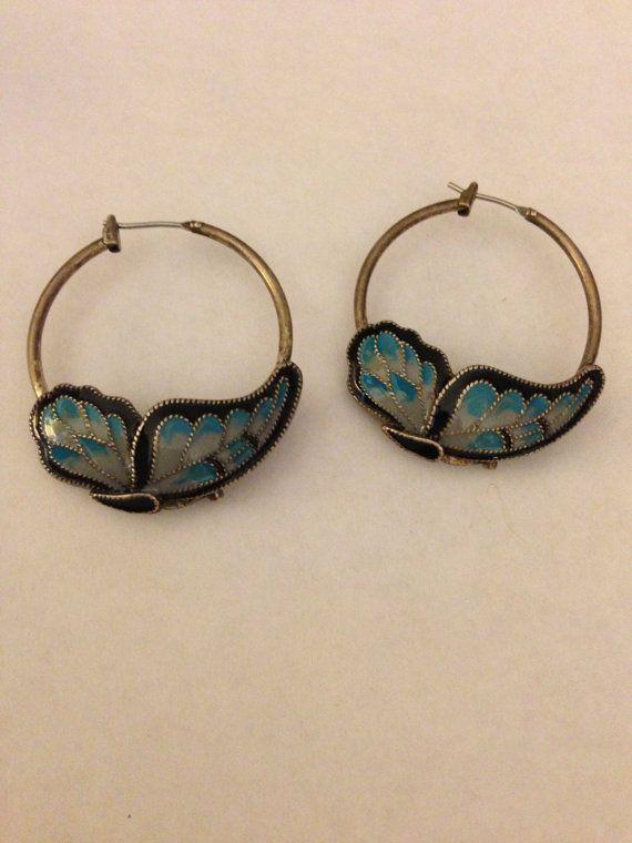 Unique Butterfly earrings silver hoop by oodlesofrandomstuff