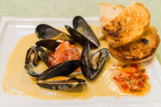 Sake Steamed Mussels with Edamame & Grapefruit Purée
