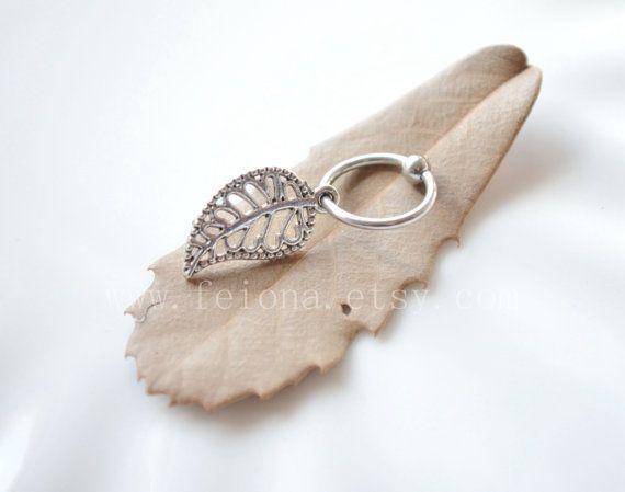 Argenteo foglia CBR Captive Bead Ring, foglia hoop cartilagine Hoop orecchino trago Helix Piercing, monili di piercing dell'orecchio