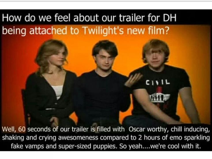 Sorry this just made me laugh. Twilight v.s Harry Potter. Deathly Hollows. Hermione Ron Harry Cast