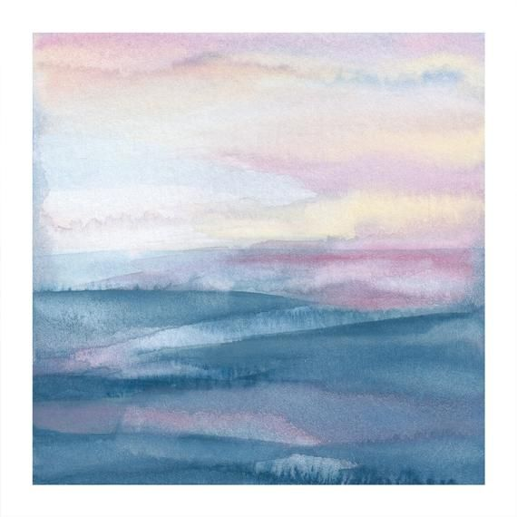 Modern Abstract Watercolor Seascape Art Abstract Ocean Etsy