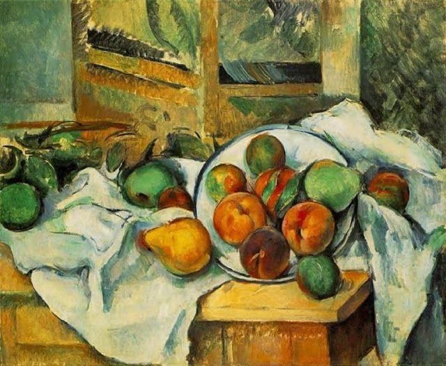 Mondások: Csendélet - Cézanne csendéletének tárgyai között valamilyen felfoghatatlan összefüggés van. Kicsit minden zagyván összehajigálva és mégis minden a helyén. A festményt nézegetve ez az érzés kerít hatalmába. {(Németh György),{Paul Cézanne (1839-1906) - Table, Napkin and Fruit, c.1900}